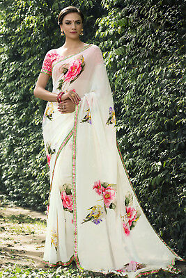 Indian White Designer Printed Border Bollywood Sari Georgette Casual Wear Saree