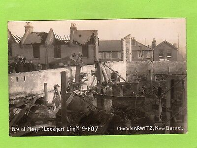 Fire Saw Mills Messrs Lockhart Ltd 1907 RP pc unused Harwitz New Barnet Ref E620