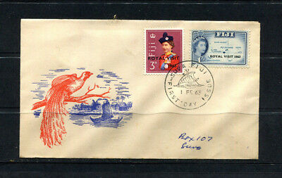 Fiji British Commonwealth 1963 Fdc First Day Stamp Cover Optd Royal Visit