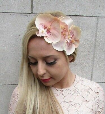 Peach Gold Orchid Flower Fascinator Headband Races Headpiece Vintage Floral 5264