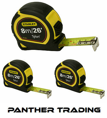 3X Stanley Durable 8m/26ft Pocket Tape Measure with Long life Tylon™ - STA30656