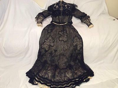 Antique 1905- 1910 Evening Gown Lady's Dress Boston Very Fine Lace And Handwork!