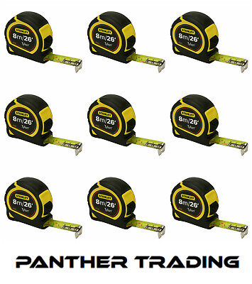 9X Stanley Durable 8m/26ft Pocket Tape Measure with Long life Tylon™ - STA30-656