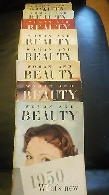 Woman and Beauty 9 Magazines 1950 vintage collectable
