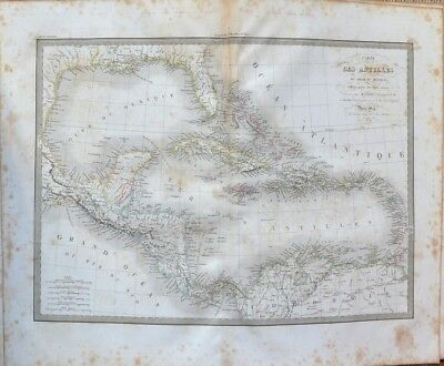 Card Antique 19th - Map of Antilles - Gulf of Mexico - M. Lapie - 1829