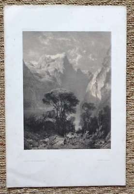 Lithography Original 19th in two tones per Alexandre Calame - Swiss - 2