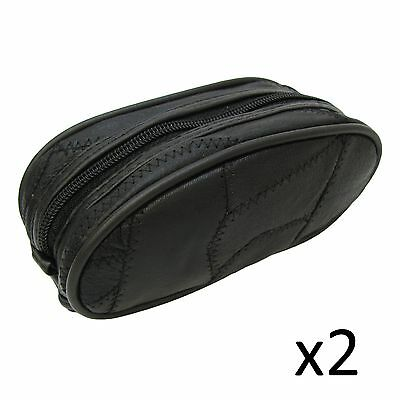 a89ad52df9 Toiletry Zipped Pouch Bag Real Leather Overnight Weekend Case Small Black x2