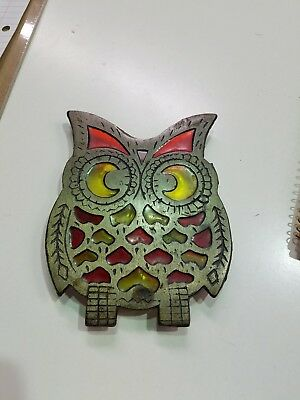 vintage owl cast iron with stained glass trivet