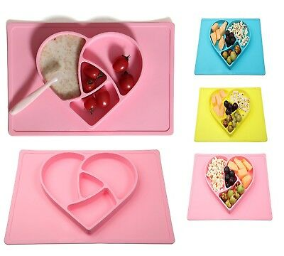 Silicone Material Non-toxic Baby Place mat Heart-Shaped Eating Plate, Food Plate