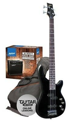 Ashton SPAB4LBK Left-Hand Black Bass Guitar Starter Pack w/ 18W Amp
