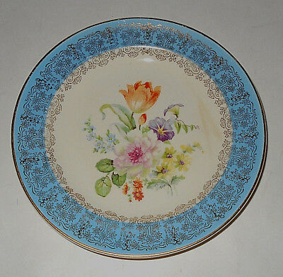 Century by Salem blue 23 karat encrusted gold trim salad plate floral design