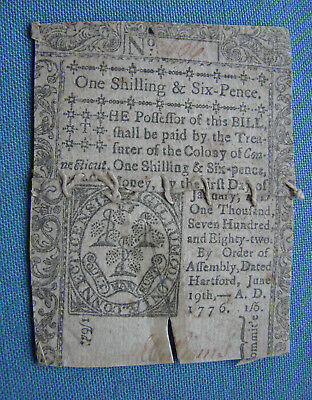*scarce 1776 Colonial Currency One Shilling & Six Pence Hartford Ct.*