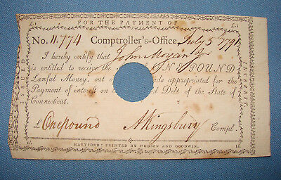 *scarce 1791 Bond For One Pound Issued Comptroller's Office Connecticut*