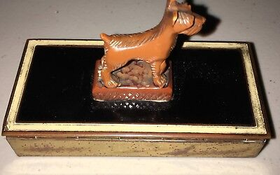 Vintage Airedale Terrier Divided Brass Box