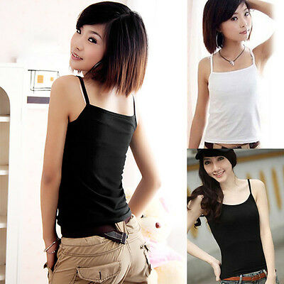 Womens Summer Casual Spaghetti Strap Loose Vest Tank T Shirt Blouse Tops