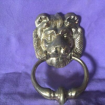 Vintage Heavy Brass Large Lion Head Door Knocker