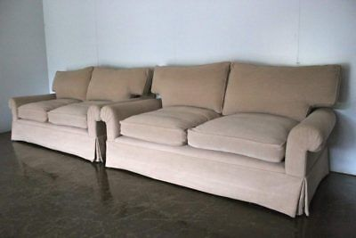 """Superb Pair of George Smith Signature """"Scroll-Arm"""" Large Sofas in Woven-Linen..."""