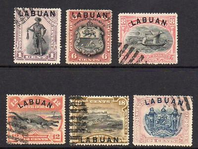 Labuan Part Set of Stamps c1894 Used (faults)