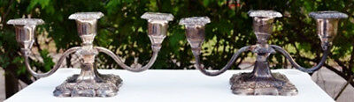 Vintage Pair Of Silver Poole Candelabras Old English  5015