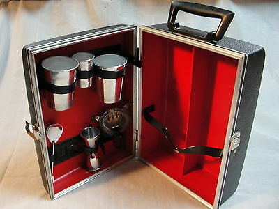 Vintage DANTE Portable Travel Liquor Case Set mixer cups strainer spoon shot