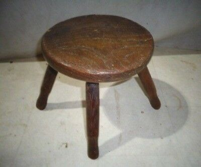Antique Victorian Elm Milking Stool Vintage Childs Stool Fire Side Stool