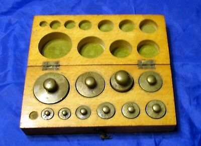 Antique Brass Scale Weights Set In Wood Box Apothecary Pharmacy