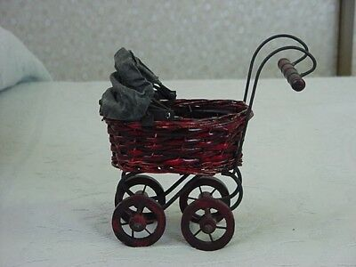 MINI DOLL BUGGY - WOOD/WICKER - preowned carriage
