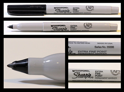 Lot of 6 Sharpie EXTRA FINE Point Permanent Marker Black Pens RARE! 6-Count Pack