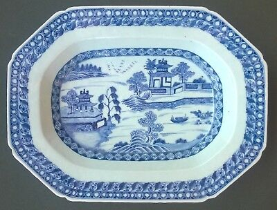 ANTQUE CHINESE EXPORT PORCELAIN PLATTER - BLUE AND WHITE - LARGE -1800s - NICE!