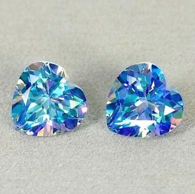 MATCH PAIR OF CERTIFIED MULTICOLOR HEART TOPAZ 6,58ct