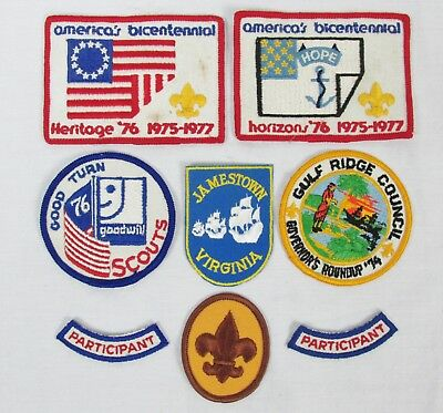 Vintage Boy Scouts of America Lot of 7 Badges Patches Bicentennial Gulf Ridge