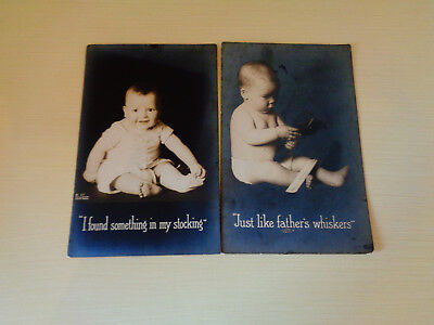 Vintage Two Baby Picture Postcards