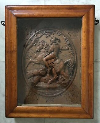 ANTIQUE Black Forest CARVED WALNUT PANEL of HUNTSMAN in SHADOW BOX