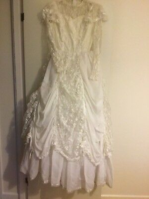 1980,s Vintage White Lace Wedding Dress Approx 8-10