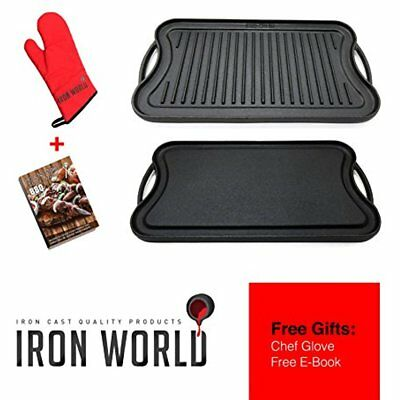 Cast Iron Griddle Grill Pan - Reversible Nonstick For Gas Stove Stovetop Burner