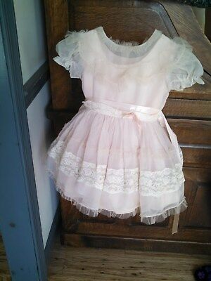 Vtg c1954 Young Girl's Chiffon/lace Party Dress w/Hoop Slip & Tie