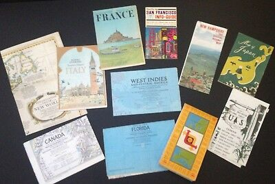 lot of 10 vintage maps National Geographic Canada Italy France Florida Japan etc