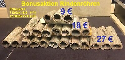 Bonusaktion! Höhle Aquarium Ø3x10-12cm Catappa Bark Tube Welshöhle Laichhöhle