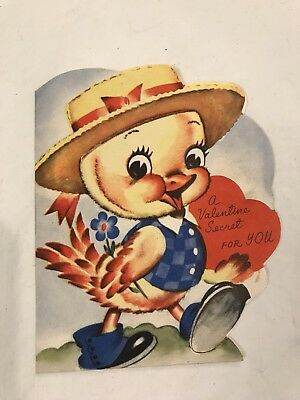 Vintage Valentine Card Yellow Duck with Straw Hat