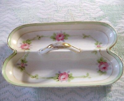 c1920's Nippon Hand Painted Divided Double Relish Porcelain Caddy Tray