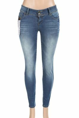 Salt Tree Women's Wax Two Button Front Washed Out Skinny Jeans, US Seller