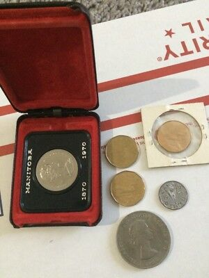 Assorted Lot  Canadian Coins-Currency W/ Manitoba Canadian Dollar 1870-1970
