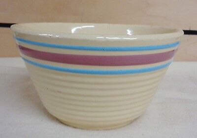 Vintage WATT #4 INTER-STATE LUMBER Co. Advertising Striped Bowl  (TH1187)