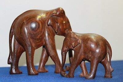 Elephant pair of figurines vintage hand carved wooden