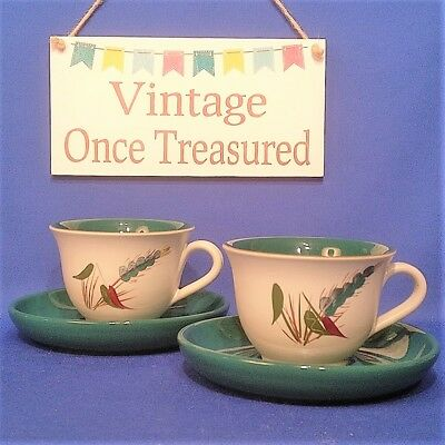Vintage DENBY GREENWHEAT - 2 x Large TEA CUPS & SAUCERS - VGC