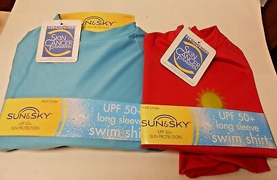 Sun&Sky Unisex Long Sleeve Swim Shirt 50+ UPF Red or Blue 639