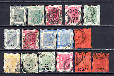 Hong Kong 1863-1902 China Qv Selection Of Used Stamps Pmk Interest