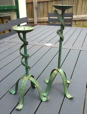 Ornate antique style pair of candlesticks