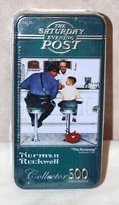 """NEW Norman Rockwell """"The Runaway"""" Collector Tin 500 Piece Puzzle  Factory Sealed"""