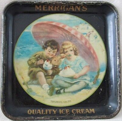 Merrigan's Quality Ice Cream colorful illustrated metal litho serving tray 1923